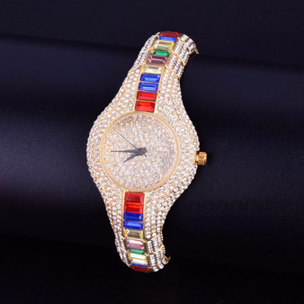 Ladies Flooded Ice Luxury Candy Baguette Iced Gold Stainless Steel Bling Watch