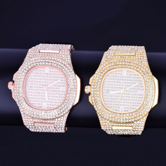 Mens Flooded Iced Faced 925 Silver 14k Rose Gold Stainless Steel Luxury Bling Wristwatch