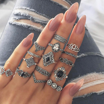 Ladies 15Pcs Bohemian Crystal Flower Leaves Hollow Lotus Silver Ring Set