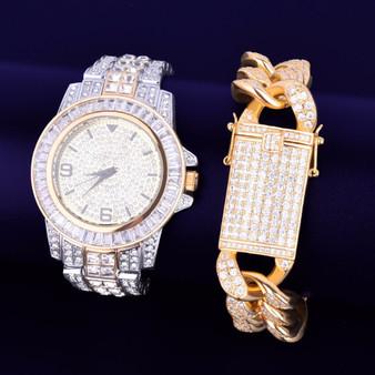 Flooded Ice Luxury Baguette Two Tone Stainless Steel Bling Watch Cuban Link Bracelet Set