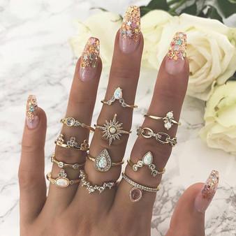 Ladies 12Pcs Bohemian Crystal Queen Water Drop Gold Crystal Ring Set
