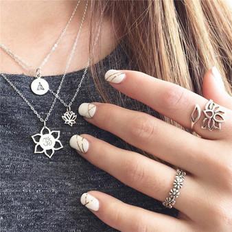 3 Piece Set Boho Buddha Lotus Yoga OM Symbol Fashion Necklace Silver Set