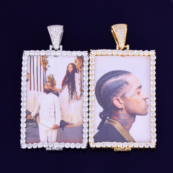 18k Rose Gold .925 Silver Micro Pave Lab Diamond Custom Square Photo Pendant Chain Necklace