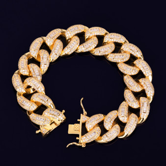 24k Gold AAA Baguette Simulate Diamond Bracelet