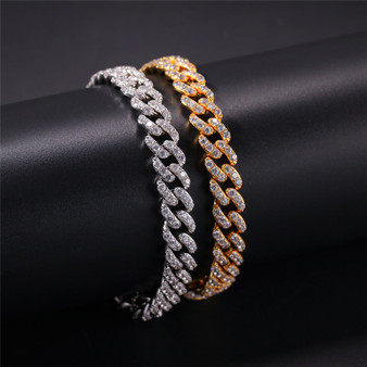 Hip Hop 10MM Iced AAA Micro Pave Stone Cuban Link Bracelet