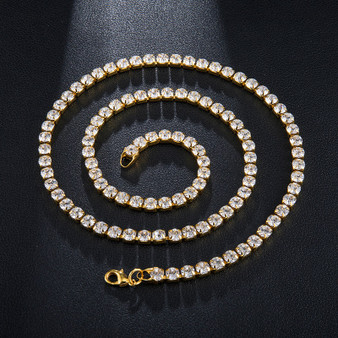Hip Hop 5MM 24 Inch Bling All Ice Simulate Diamond Tennis Chain Necklace