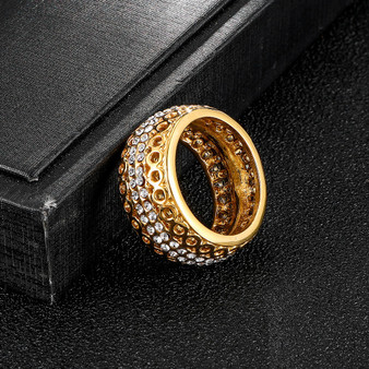 Hollowed Out Iced 14k Gold Stainless Steel AAA Micro Pave Round Band Rings