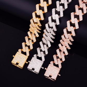 Flooded Ice 24k Rose Gold Silver 18mm Big Square Miami Cuban Link Hip Hop Bracelet