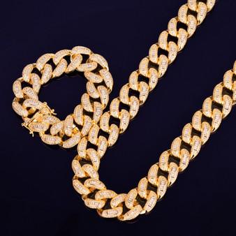 Baguette AAA Lab Created Miami Cuban Link Chain Bracelet Hip Hop Jewelry Set