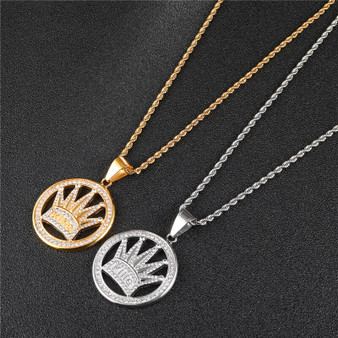 Mens 14k Gold Stainless Steel King Crown AAA Diamond Simulate Pendant Chain Necklace