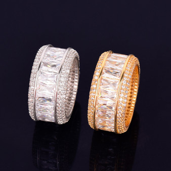 18k Gold Silver Flooded Ice Baguette AAA Micro Pave Stone Hip Hop Rings