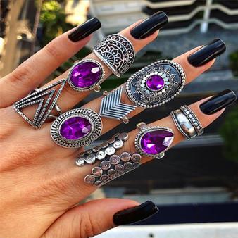 Ladies Personality Girl 9 Piece Triangle Arrow Sun Gemstone Crystal Silver Ring Jewelry Set