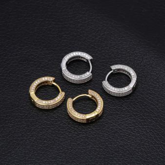 Hip Hop 14 Gold 925 Silver AAA Micro Pave Huggie Hoop Bling Earrings