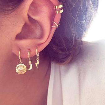Fashion Eye Moon Lightning 5 Piece Gold Hanging Stud Boho Earrings Jewelry Sets