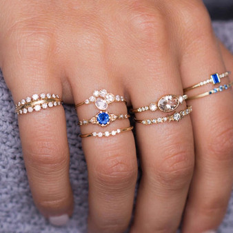 8 Piece Fashion Flower Midi Gossip Moon Star Crown Retro Crystal Opal Knuckle Ring Jewelry Set