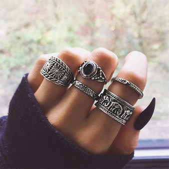 Ladies 5 Piece Bohemia Retro Elephant Arrow Round Gemstone Jewelry Ring Set