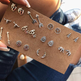 Boho Fashion 11 Pair Retro Moon Elephant Buddha Flower Arrow Delicate Silver Earrings Silver Set
