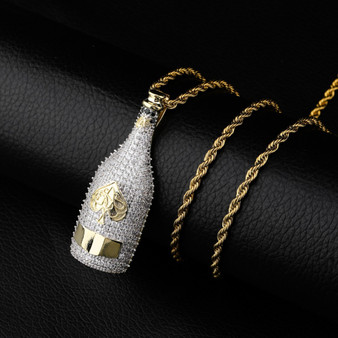 Ace Of Spades Champagne Bottle AAA Micro Pave 14k Gold Hip Hop Pendant Chain Necklaces