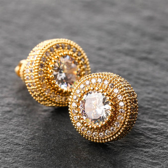 Hip Hop AAA Micro Pave Flooded Ice Bling Stud 14k Gold Silver Rose Gold Earrings