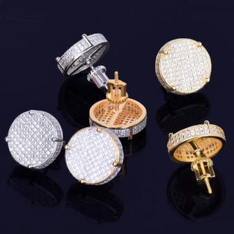 14MM Gold Silver Big Boy Round Stud Earring Silver AAA Micro Pave Screw Back Men's Earrings
