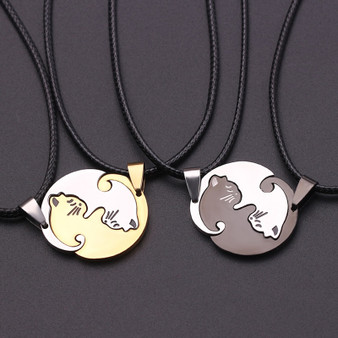 2 Piece Ladies Fashion Sweet Kitten Kitty Pussy Cat Leather Weave Pendant Necklace