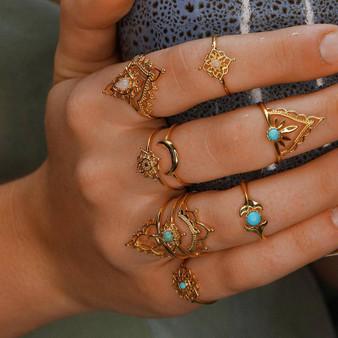 Ladies 11 Piece Gold Vintage Crown Moon Fishtail Gem Ring Jewelry Set