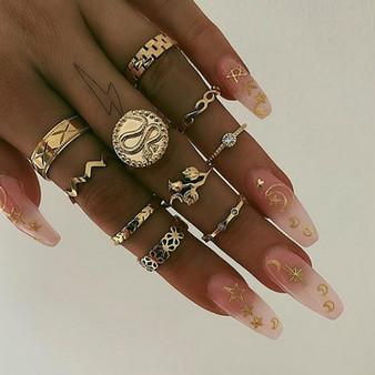 Boho 10 Piece Gold Retro Snake Wave Arrow Flower Crystal Jewelry Ring Set