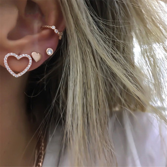 Ladies 4 Piece Fashion Heart Crystal Stars Exquisite Gold Earrings Jewelry Set