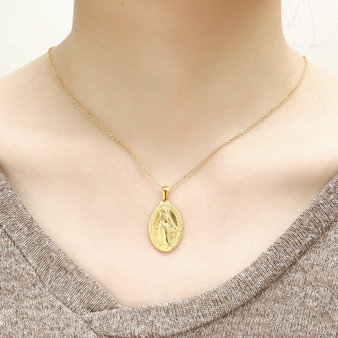 Ladies Catholic Virgin Mary Strength Gold Silver Stainless Steel Miracalous Necklace