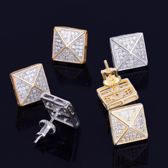 11MM Pyramid Peak Square Gold Silver True Micro Pave Stud Hip Hop Earrings