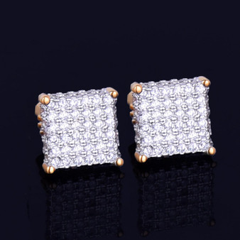 8MM Four Corners Gold Silver Super Iced Square Stud Hip Hop Earrings
