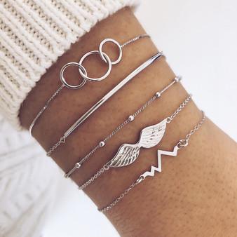 Angel Wings Boho Retro Circle Chain Heartbeat Silver Beaded Charm Bracelets Set