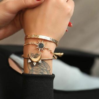 Bohemian Gold Retro Stars Moon Crystal 3 Piece Bracelets Jewelry Set