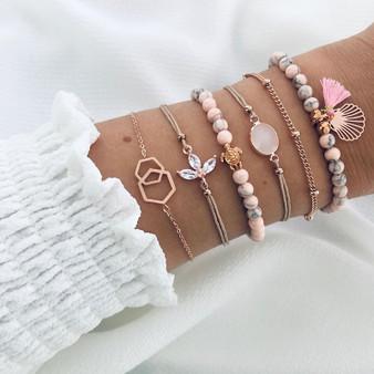 Ladies Beaded Turtle Shell Fashion Tassel Charm Bracelets Jewelry Set