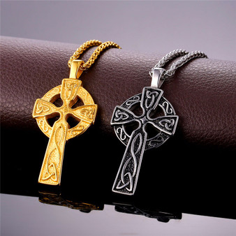 Mens 18k Gold Silver Black Blue Stainless Steel Triquetra Viking Triple Horn Of Odin Cross Pendant