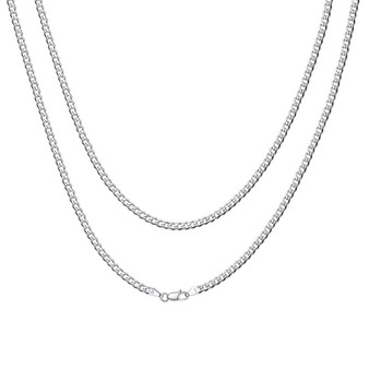 Classic 925 Sterling Silver Italian Cuban Curb Figaro Link Chain Necklaces