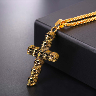 Mens Skeleton Skull Cross Gold Silver Stainless Steel Cross Pendant Chain Necklace
