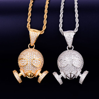 Flooded Ice True Micro Pave Hip Hop Skull Gas Mask 18k Gold .925 Silver Pendant Chain Necklace