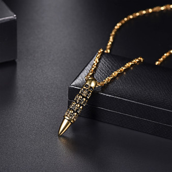 18k Gold Silver Black Stainless Steel Bullet Skull Pendant Chain Necklace