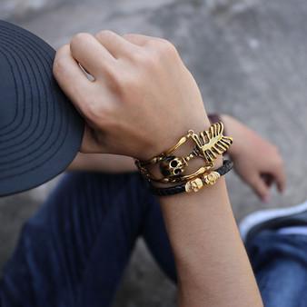18k Gold Over Stainless Steel Skull Bones Skeleton Bling Bracelet