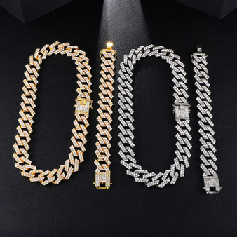AAA Micro Pave 14k Gold .925 Silver 20mm Cuban Link Chain Necklace Bracelet Jewelry Set
