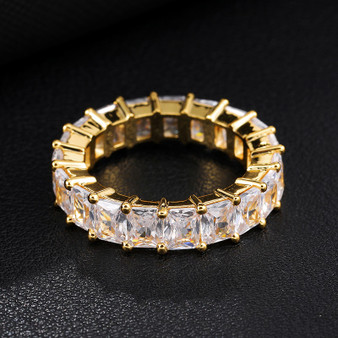 Mens Hip Hop AAA Princess Cut Bust Down Flooded Ice 14k Gold 4 Prong Set Rings