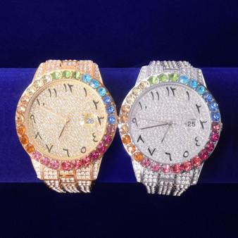 International Baller Flooded Ice Colorful Cluster Bezel Bust Down Hip Hop Wrist Watch