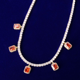 18k Gold .925 Silver Ruby Red Gemstone Adjustable Tennis Chain Flooded Ice Chain Necklace