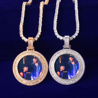 Flooded Ice Double Bezel Solid Back Custom Photo Baguette Picture Pendant Chain Necklace