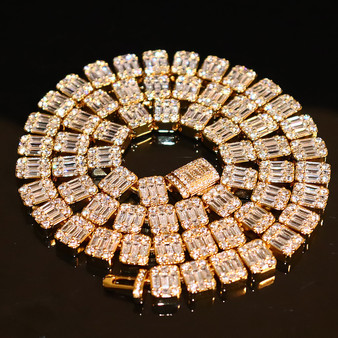 18k Gold .925 Silver Square Baguette Flooded Ice Cluster Chain Necklace