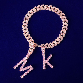 10mm Rose Gold Tennis Letter Two Letter Hip Hop Replaceable Letter Bling Custom Bracelets