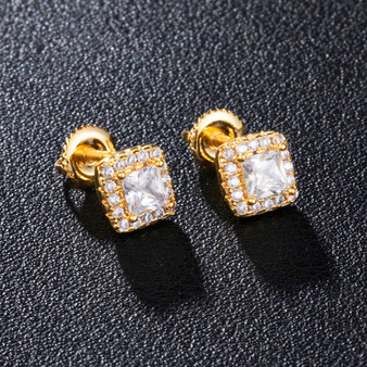 925 Silver 18k Gold Centerstone Cluster Flooded Ice Hip Hop Screw Back Earrings