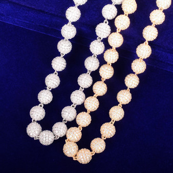 24k Gold .925 Silver 10mm Flooded Ice AAA Micro Pave Ball Round Bead Hip Hop Chain