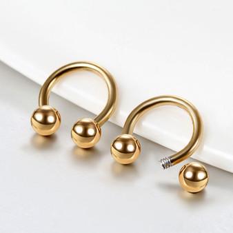 14k Gold Silver Black Over Solid Stainless Steel Bull Septum Nose Ring